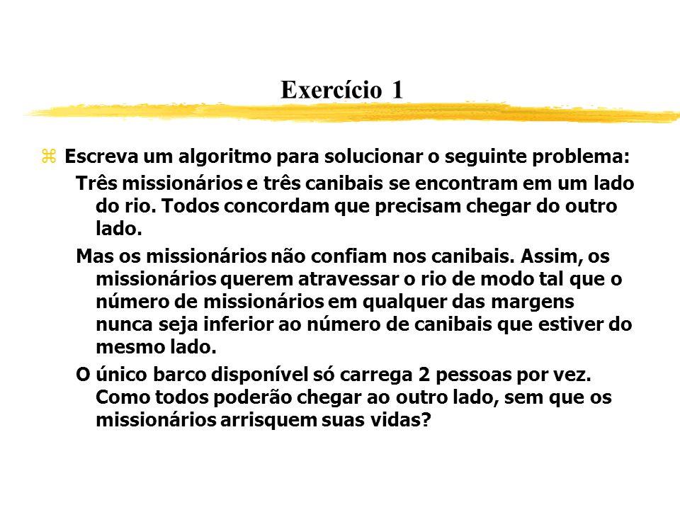 Exercício 1 Escreva um algoritmo para solucionar o seguinte problema: Três missionários e três canibais se encontram em um lado do rio. Todos concorda
