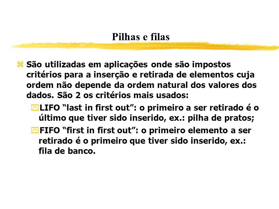 Pilhas e filas São utilizadas em aplicações onde são impostos critérios para a inserção e retirada de elementos cuja ordem não depende da ordem natura