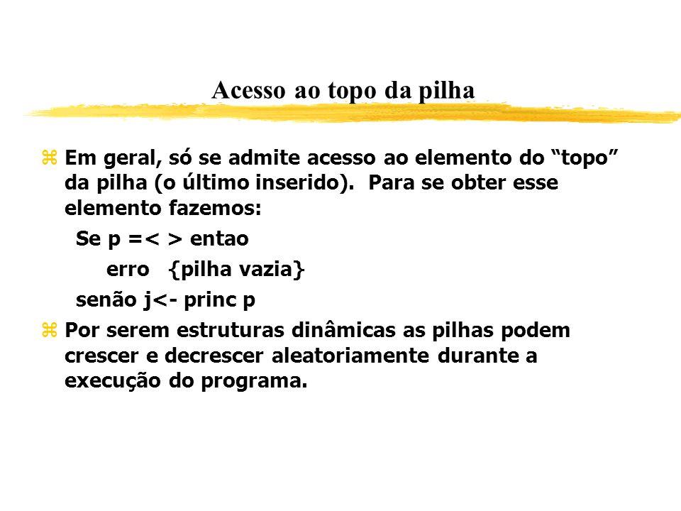 Acesso ao topo da pilha Em geral, só se admite acesso ao elemento do topo da pilha (o último inserido). Para se obter esse elemento fazemos: Se p = en