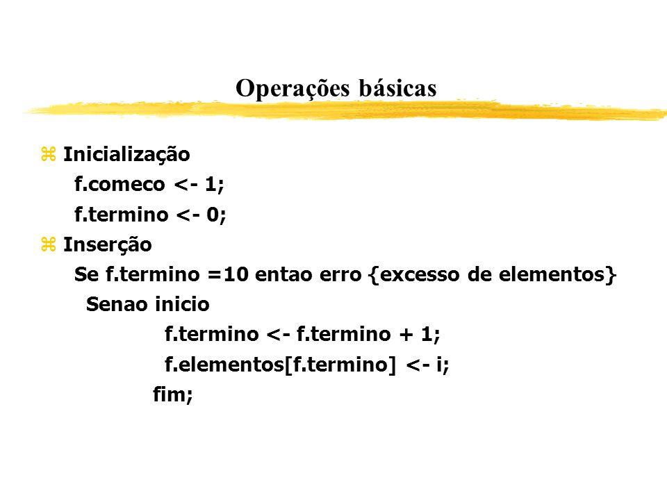 Operações básicas Inicialização f.comeco <- 1; f.termino <- 0; Inserção Se f.termino =10 entao erro {excesso de elementos} Senao inicio f.termino <- f