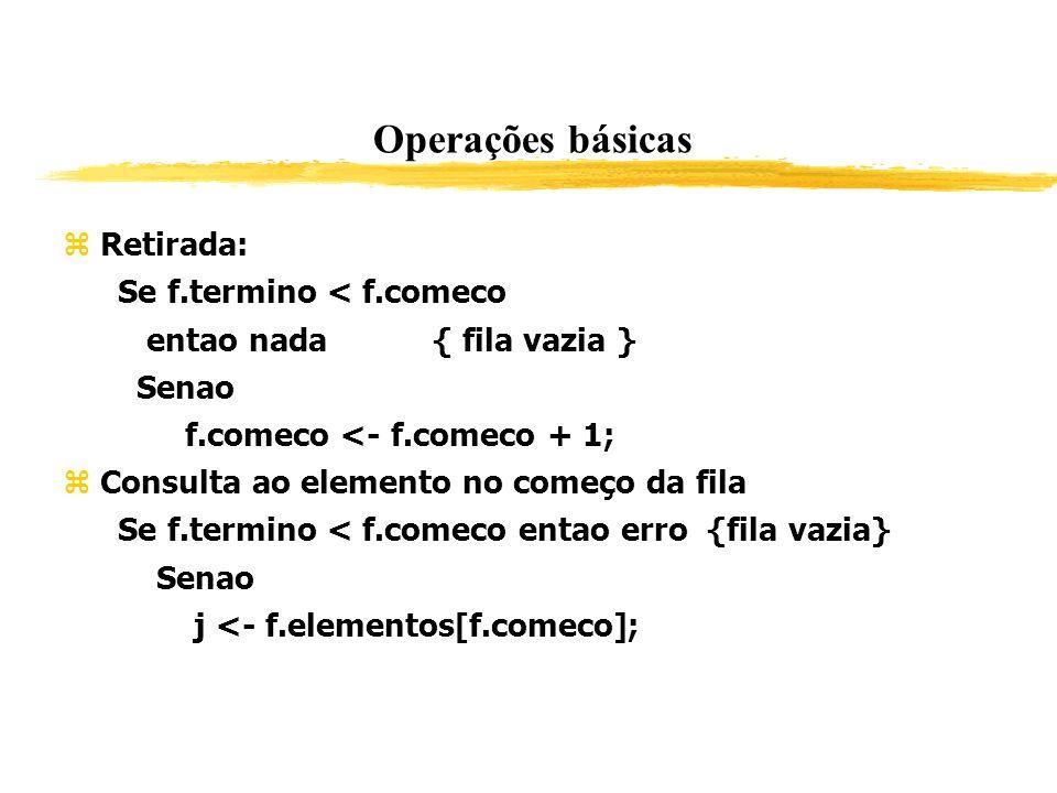 Operações básicas Retirada: Se f.termino < f.comeco entao nada { fila vazia } Senao f.comeco <- f.comeco + 1; Consulta ao elemento no começo da fila S