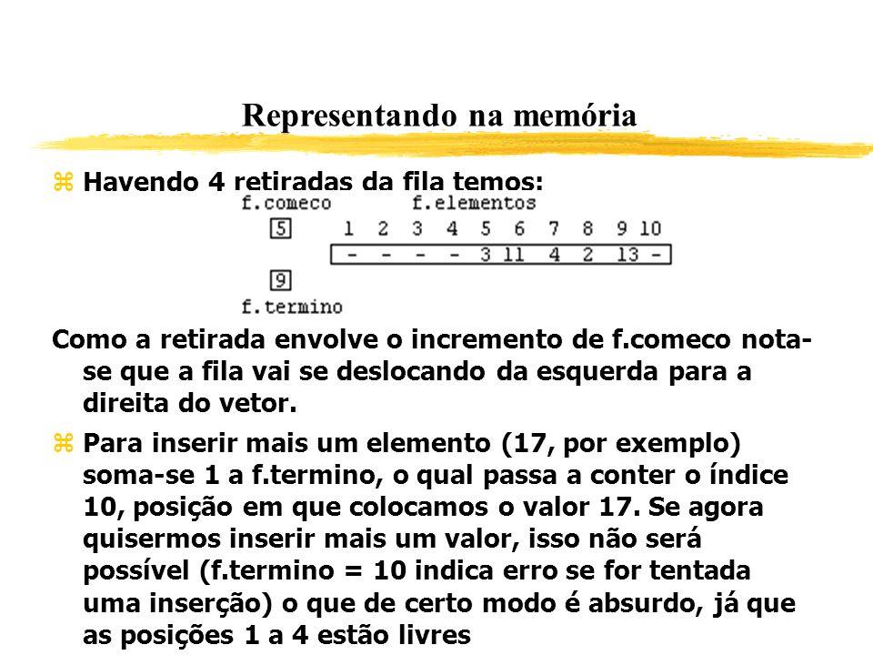 Representando na memória Havendo 4 retiradas da fila temos: Como a retirada envolve o incremento de f.comeco nota- se que a fila vai se deslocando da