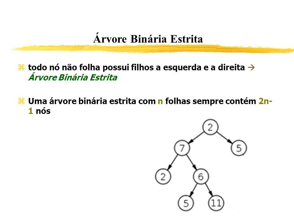 Árvore Binária Estrita todo nó não folha possui filhos a esquerda e a direita Árvore Binária Estrita Uma árvore binária estrita com n folhas sempre co