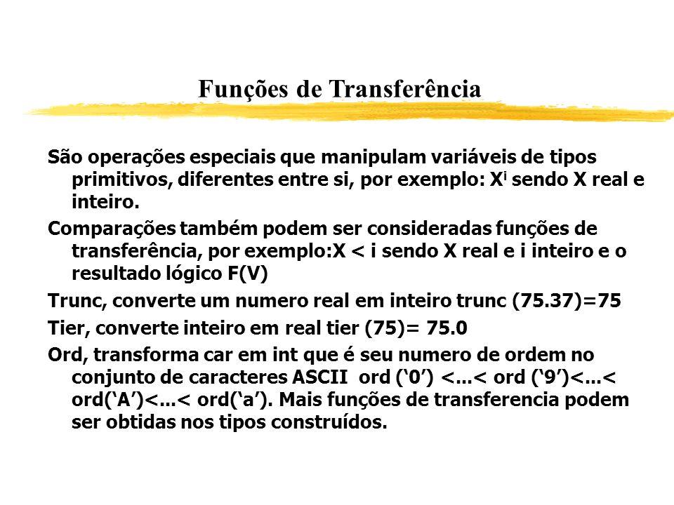 Funções de Transferência São operações especiais que manipulam variáveis de tipos primitivos, diferentes entre si, por exemplo: X i sendo X real e int