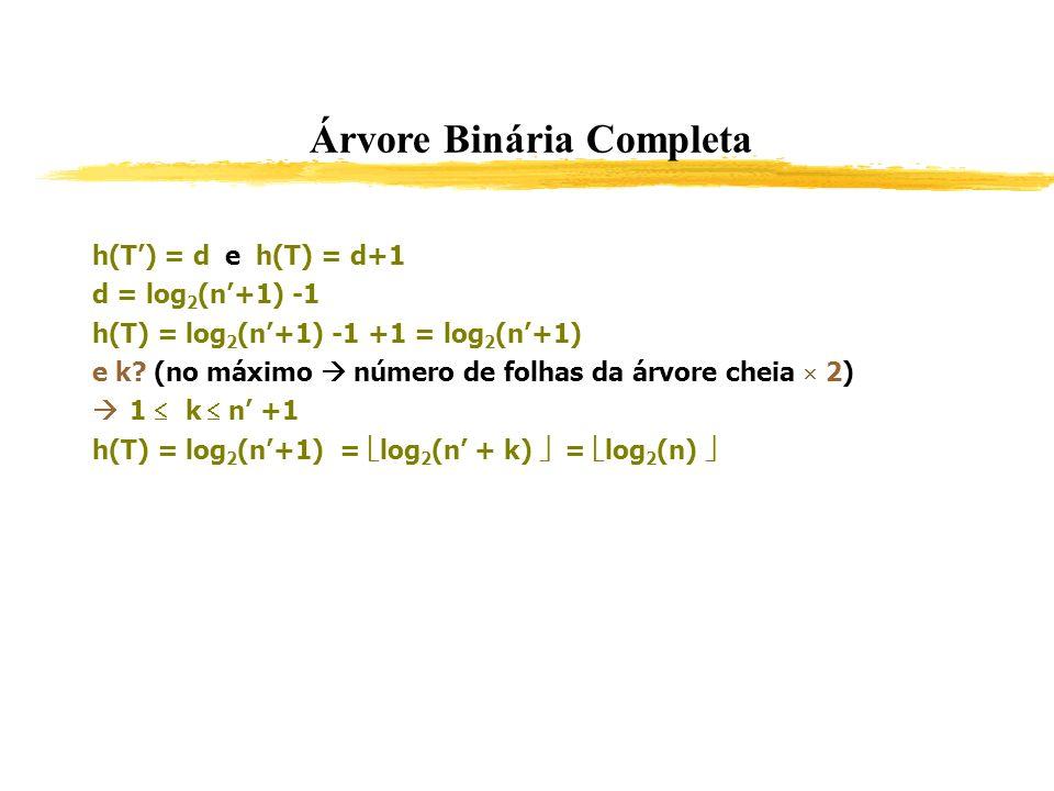 Árvore Binária Completa h(T) = d e h(T) = d+1 d = log 2 (n+1) -1 h(T) = log 2 (n+1) -1 +1 = log 2 (n+1) e k? (no máximo número de folhas da árvore che