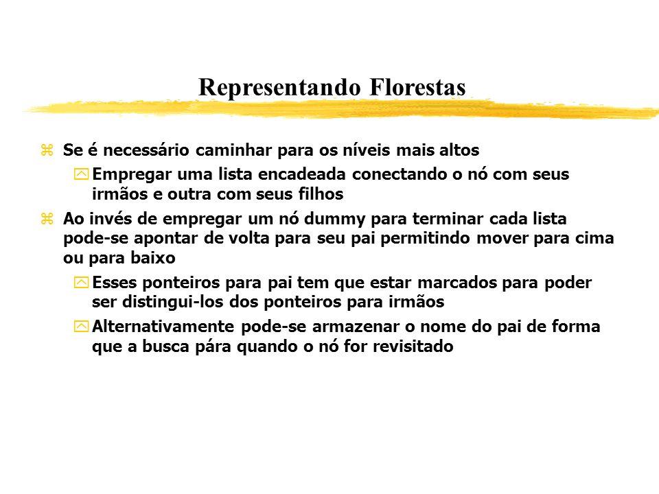Representando Florestas Se é necessário caminhar para os níveis mais altos Empregar uma lista encadeada conectando o nó com seus irmãos e outra com se