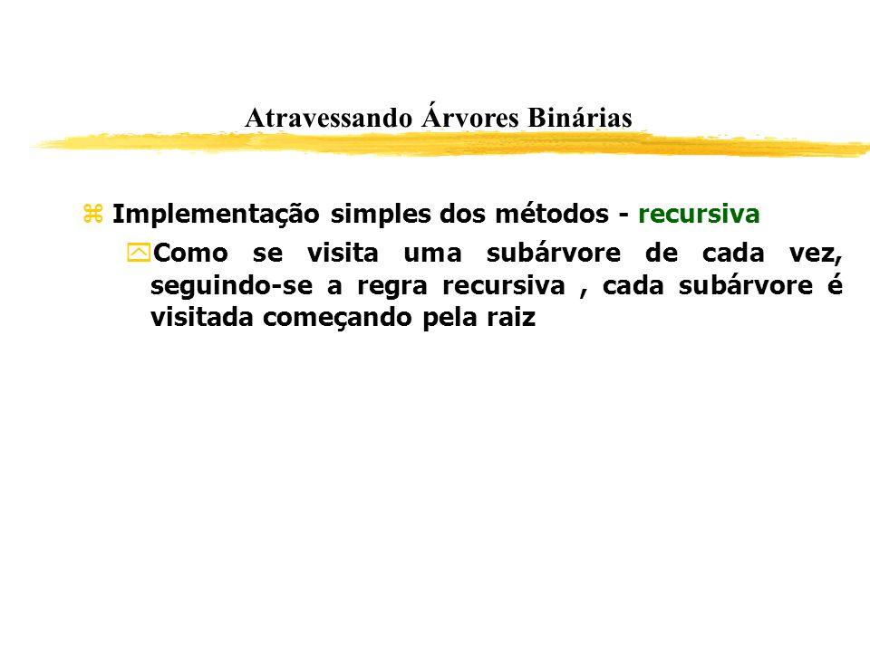 Implementação simples dos métodos - recursiva Como se visita uma subárvore de cada vez, seguindo-se a regra recursiva, cada subárvore é visitada começ