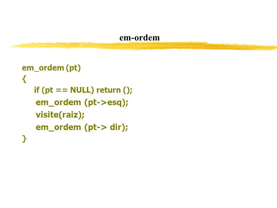 em-ordem em_ordem (pt) { if (pt == NULL) return (); em_ordem (pt->esq); visite(raiz); em_ordem (pt-> dir); }