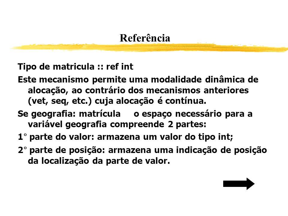 Referência Tipo de matricula :: ref int Este mecanismo permite uma modalidade dinâmica de alocação, ao contrário dos mecanismos anteriores (vet, seq,