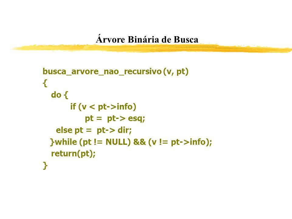 Árvore Binária de Busca busca_arvore_nao_recursivo (v, pt) { do { if (v info) pt = pt-> esq; else pt = pt-> dir; }while (pt != NULL) && (v != pt->info