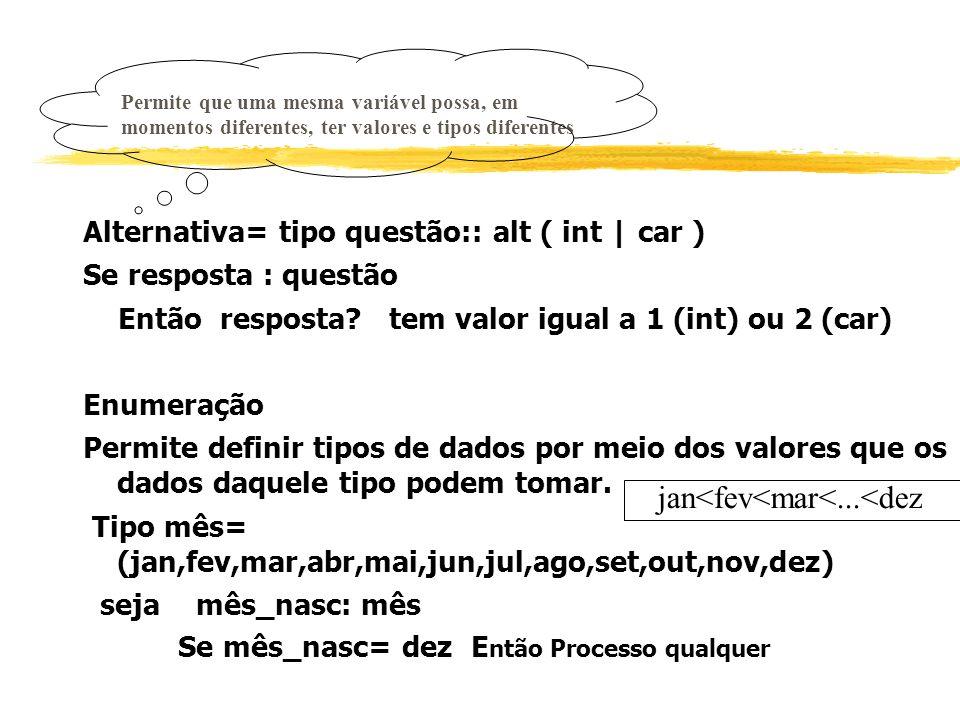Alternativa= tipo questão:: alt ( int | car ) Se resposta : questão Então resposta? tem valor igual a 1 (int) ou 2 (car) Enumeração Permite definir ti