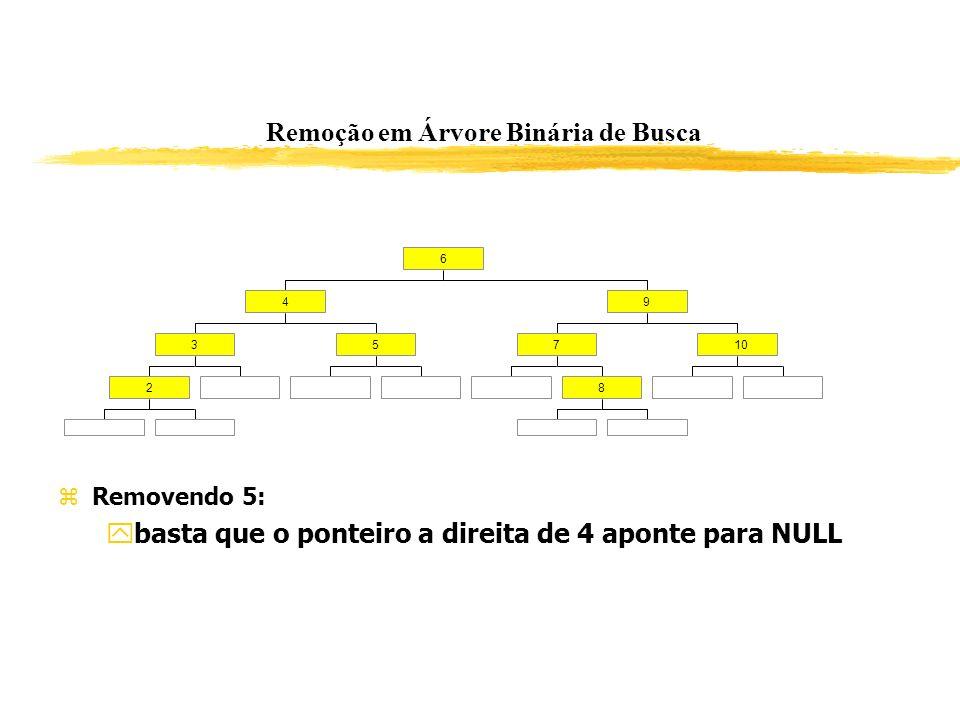 Remoção em Árvore Binária de Busca 2 35 4 8 710 9 6 Removendo 5: basta que o ponteiro a direita de 4 aponte para NULL