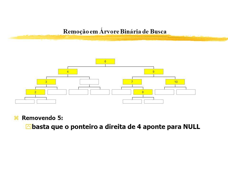 Remoção em Árvore Binária de Busca 2 3 4 8 710 9 6 Removendo 5: basta que o ponteiro a direita de 4 aponte para NULL