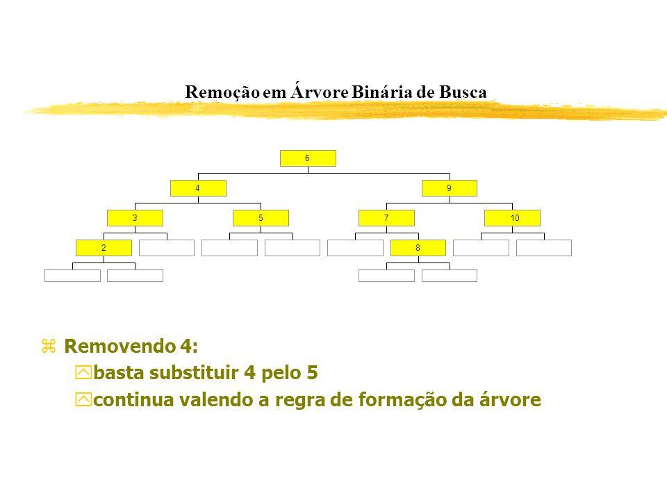 Remoção em Árvore Binária de Busca Removendo 4: basta substituir 4 pelo 5 continua valendo a regra de formação da árvore 2 35 4 8 710 9 6
