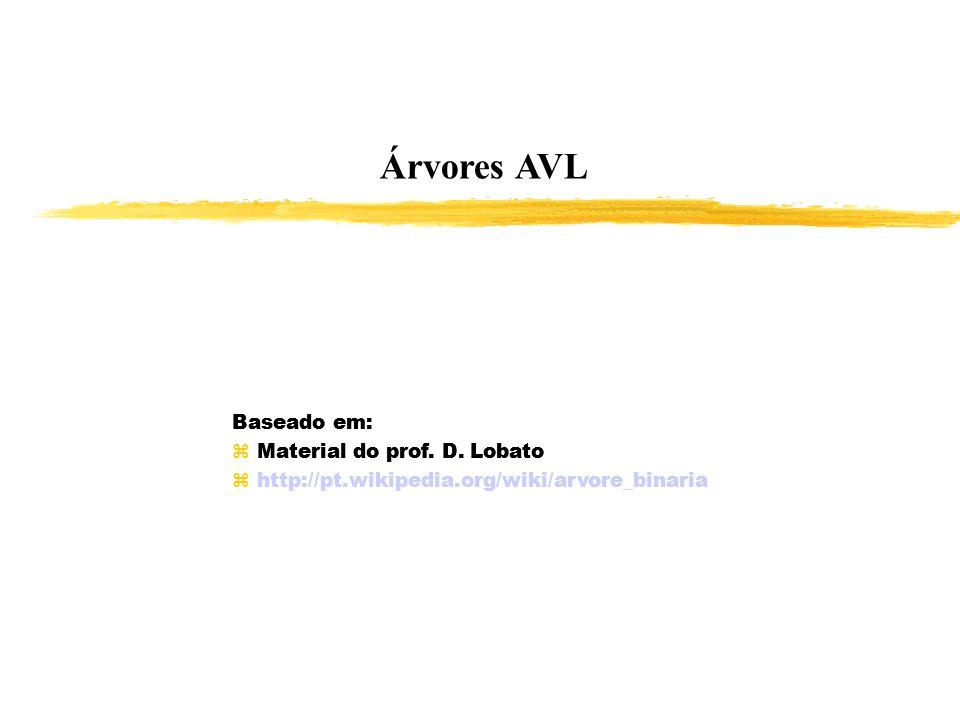 Árvores AVL Baseado em: Material do prof. D. Lobato http://pt.wikipedia.org/wiki/arvore_binaria Baseado em: Material do prof. D. Lobato http://pt.wiki