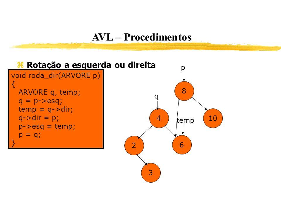 AVL – Procedimentos Rotação a esquerda ou direita void roda_dir(ARVORE p) { ARVORE q, temp; q = p->esq; temp = q->dir; q->dir = p; p->esq = temp; p =