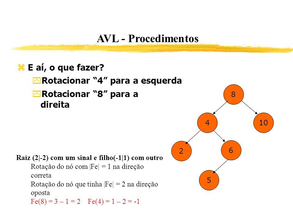 AVL - Procedimentos E aí, o que fazer? Rotacionar 4 para a esquerda Rotacionar 8 para a direita 8 4 2 6 10 5 Raíz (2|-2) com um sinal e filho(-1|1) co