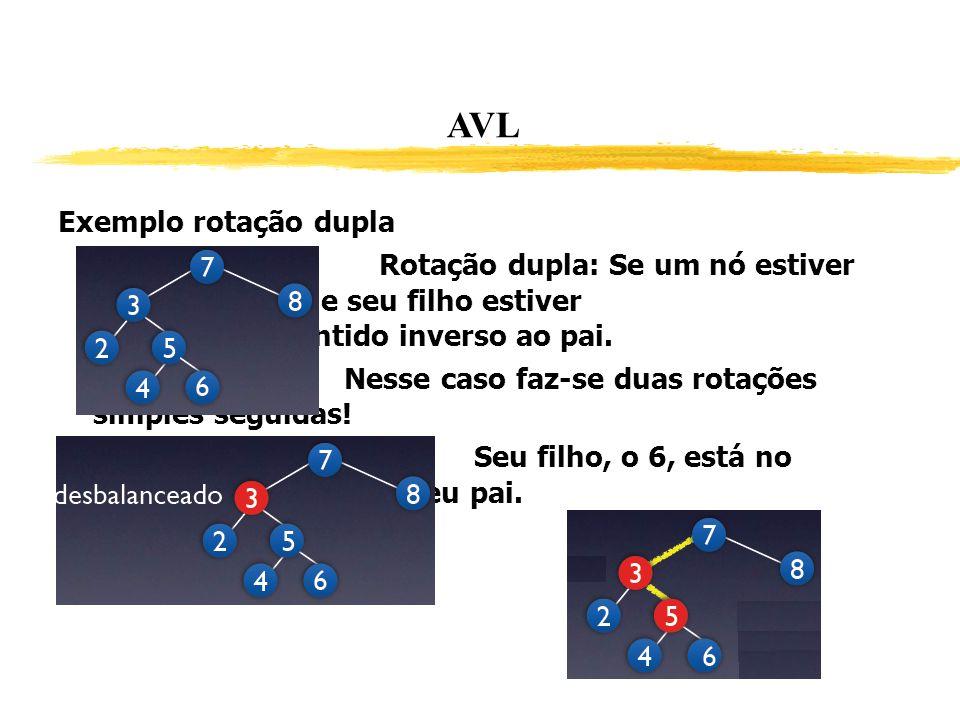 AVL Exemplo rotação dupla Rotação dupla: Se um nó estiver desbalanceado e seu filho estiver inclinado no sentido inverso ao pai. Nesse caso faz-se dua