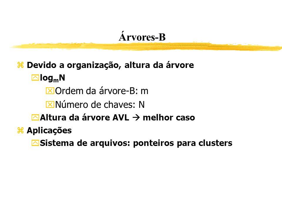 Árvores-B Devido a organização, altura da árvore log m N Ordem da árvore-B: m Número de chaves: N Altura da árvore AVL melhor caso Aplicações Sistema