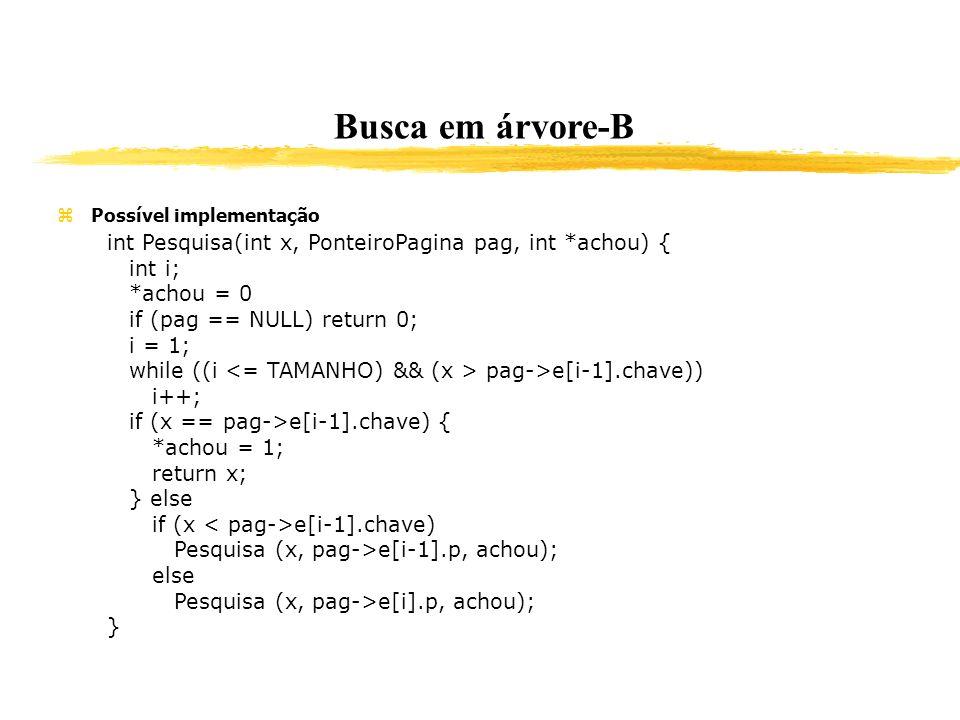 Busca em árvore-B Possível implementação int Pesquisa(int x, PonteiroPagina pag, int *achou) { int i; *achou = 0 if (pag == NULL) return 0; i = 1; whi