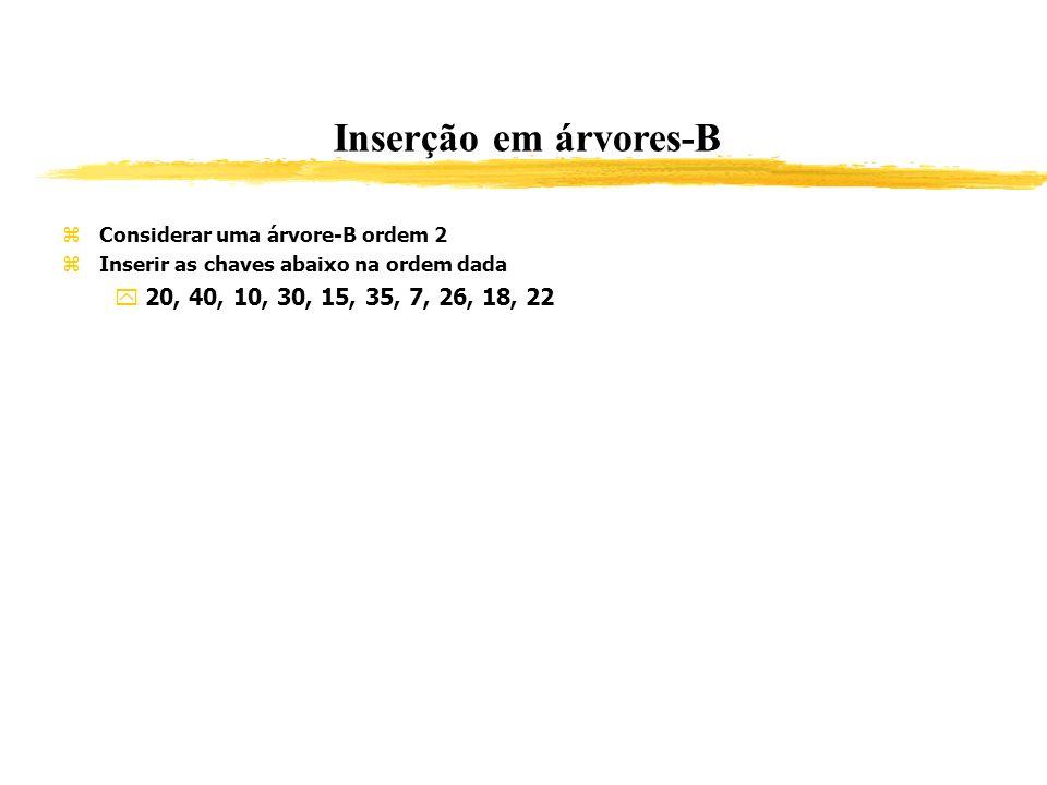 Inserção em árvores-B Considerar uma árvore-B ordem 2 Inserir as chaves abaixo na ordem dada 20, 40, 10, 30, 15, 35, 7, 26, 18, 22