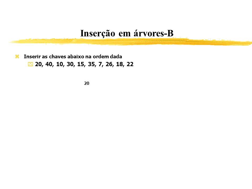 Inserção em árvores-B Inserir as chaves abaixo na ordem dada 20, 40, 10, 30, 15, 35, 7, 26, 18, 22 20