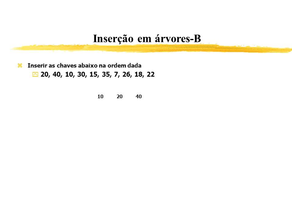 Inserção em árvores-B Inserir as chaves abaixo na ordem dada 20, 40, 10, 30, 15, 35, 7, 26, 18, 22 102040