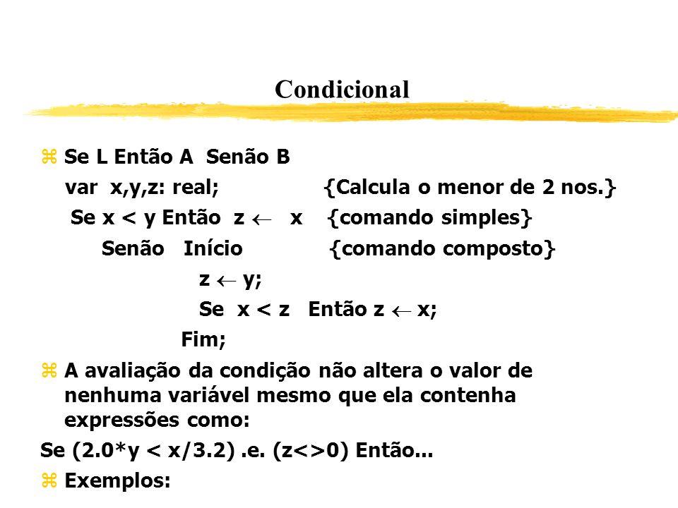 Condicional Se L Então A Senão B var x,y,z: real; {Calcula o menor de 2 nos.} Se x < y Então z x {comando simples} Senão Início {comando composto} z y