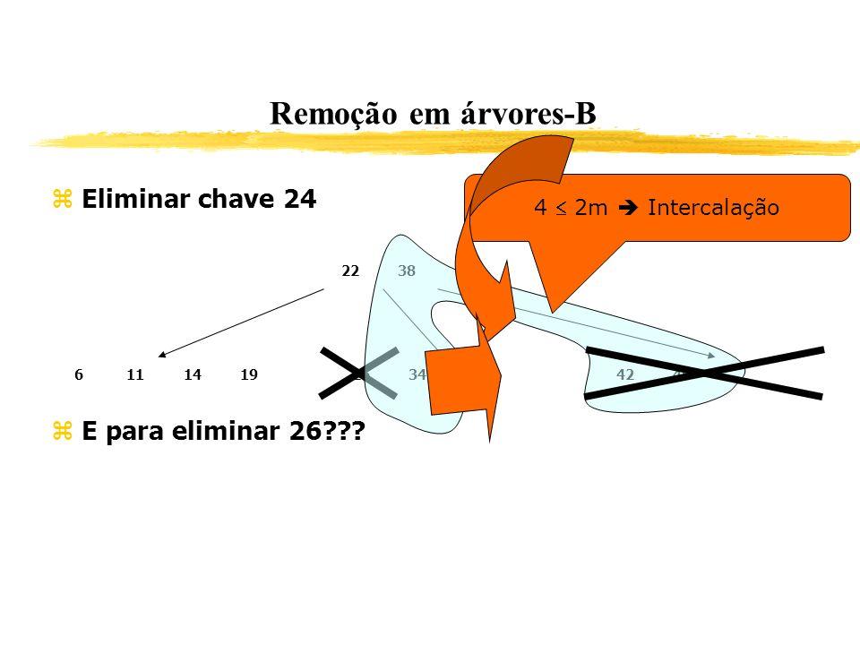 Remoção em árvores-B Eliminar chave 24 E para eliminar 26??? 2238 611141926344246 4 2m Intercalação