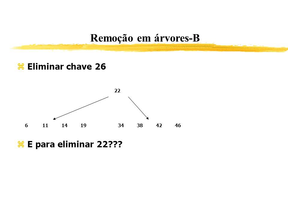 Remoção em árvores-B Eliminar chave 26 E para eliminar 22??? 22 611141934384246