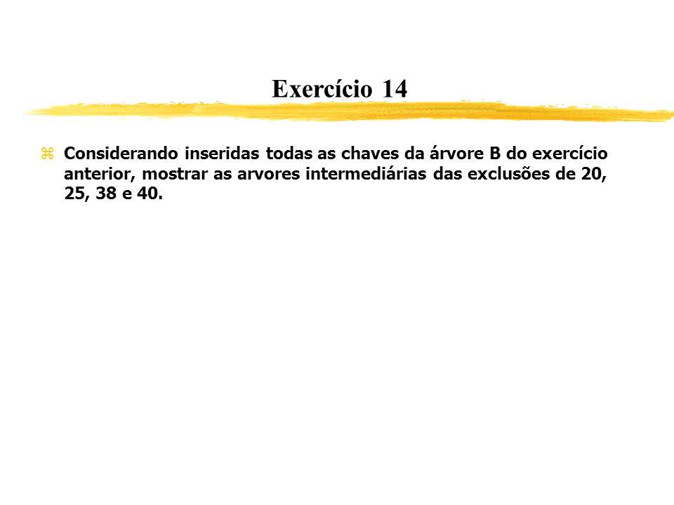 Exercício 14 Considerando inseridas todas as chaves da árvore B do exercício anterior, mostrar as arvores intermediárias das exclusões de 20, 25, 38 e