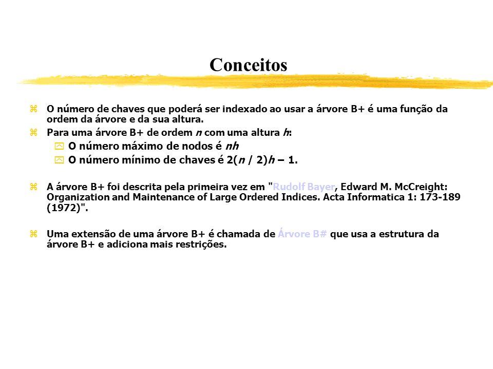Conceitos O número de chaves que poderá ser indexado ao usar a árvore B+ é uma função da ordem da árvore e da sua altura. Para uma árvore B+ de ordem