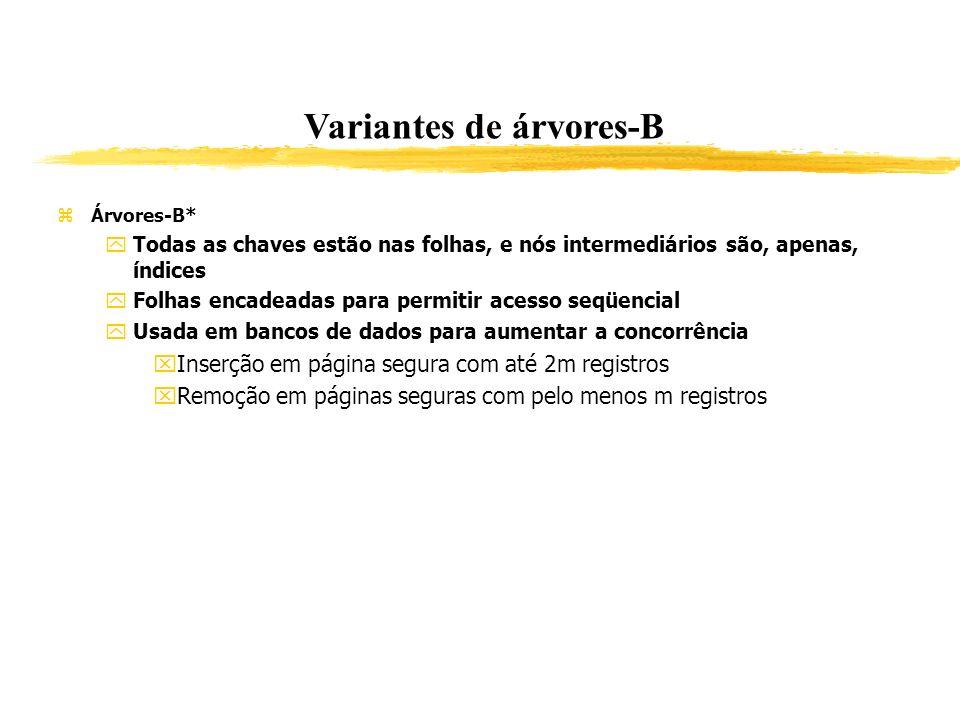 Variantes de árvores-B Árvores-B* Todas as chaves estão nas folhas, e nós intermediários são, apenas, índices Folhas encadeadas para permitir acesso s
