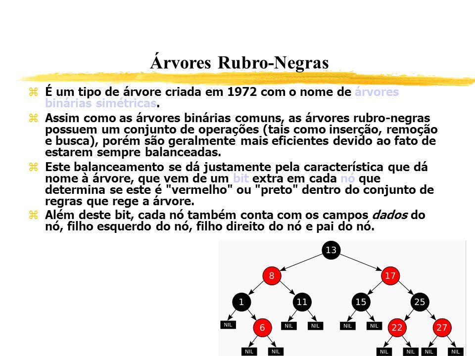 Árvores Rubro-Negras É um tipo de árvore criada em 1972 com o nome de árvores binárias simétricas. Assim como as árvores binárias comuns, as árvores r