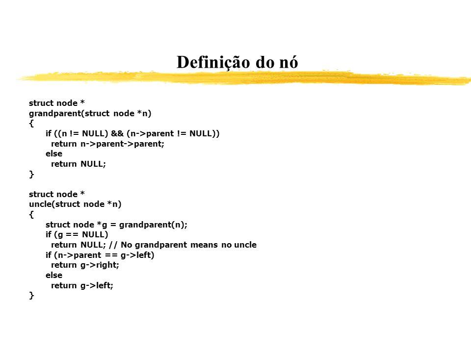 Definição do nó struct node * grandparent(struct node *n) { if ((n != NULL) && (n->parent != NULL)) return n->parent->parent; else return NULL; } stru