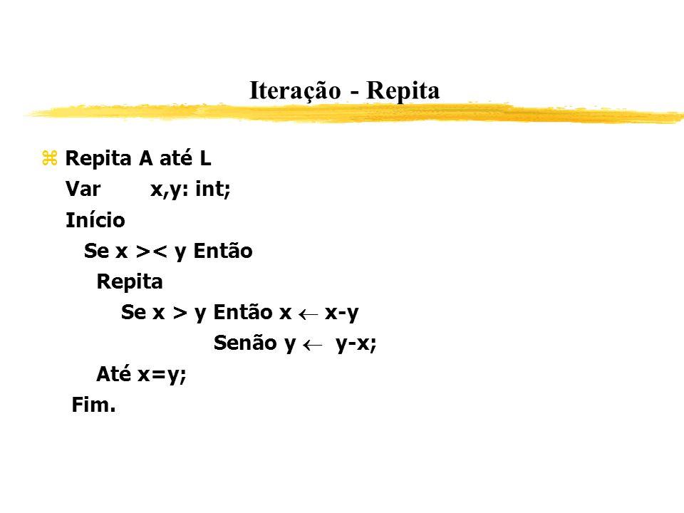 Iteração - Repita Repita A até L Var x,y: int; Início Se x >< y Então Repita Se x > y Então x x-y Senão y y-x; Até x=y; Fim.