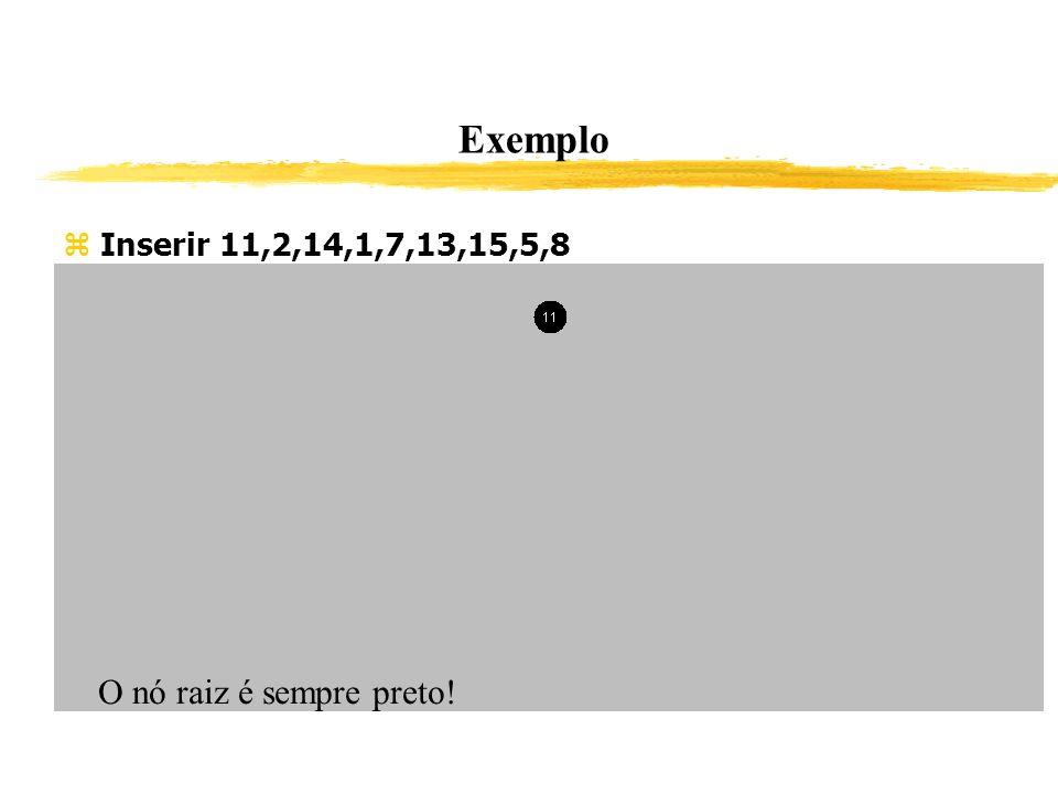 Exemplo Inserir 11,2,14,1,7,13,15,5,8 O nó raiz é sempre preto!