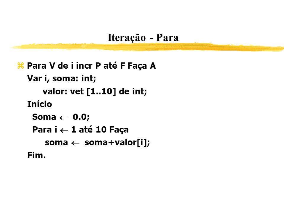 Iteração - Para Para V de i incr P até F Faça A Var i, soma: int; valor: vet [1..10] de int; Início Soma 0.0; Para i 1 até 10 Faça soma soma+valor[i];