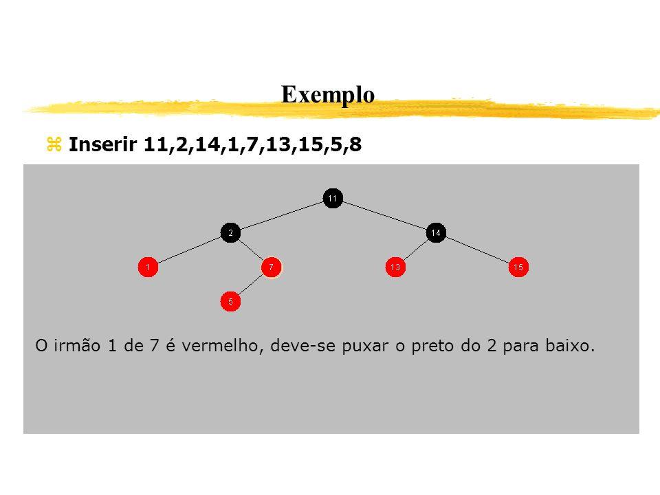 Exemplo Inserir 11,2,14,1,7,13,15,5,8 O irmão 1 de 7 é vermelho, deve-se puxar o preto do 2 para baixo.
