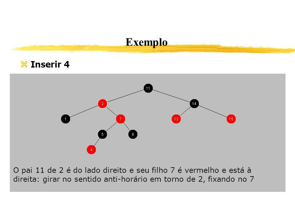 Exemplo Inserir 4 O pai 11 de 2 é do lado direito e seu filho 7 é vermelho e está à direita: girar no sentido anti-horário em torno de 2, fixando no 7
