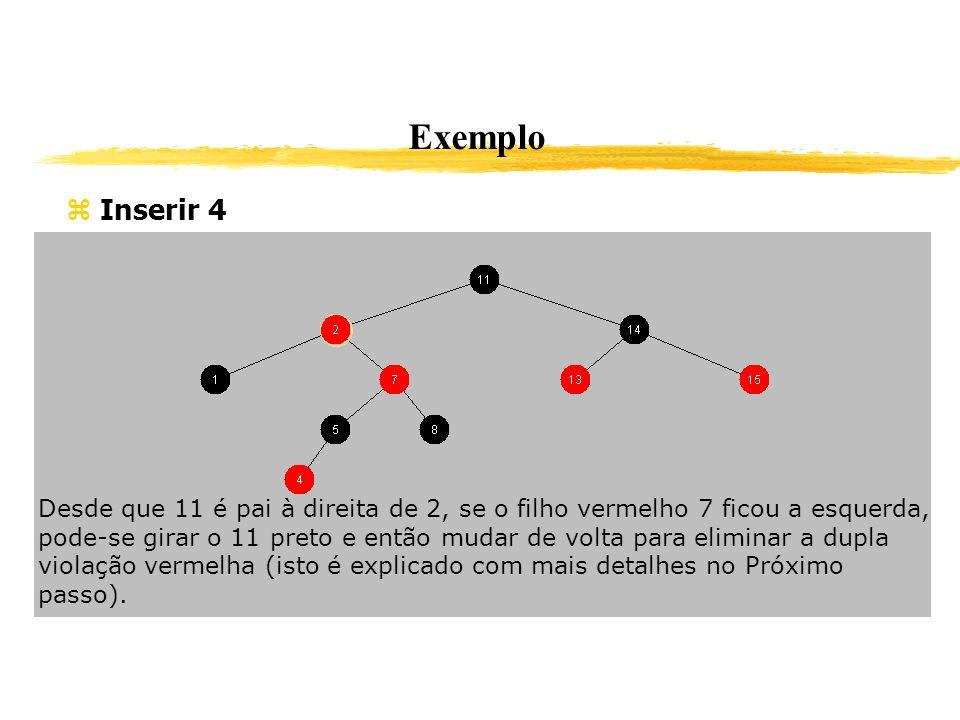 Exemplo Inserir 4 Desde que 11 é pai à direita de 2, se o filho vermelho 7 ficou a esquerda, pode-se girar o 11 preto e então mudar de volta para elim