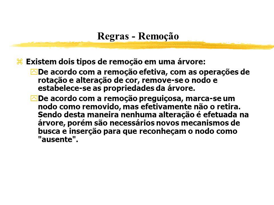 Regras - Remoção Existem dois tipos de remoção em uma árvore: De acordo com a remoção efetiva, com as operações de rotação e alteração de cor, remove-