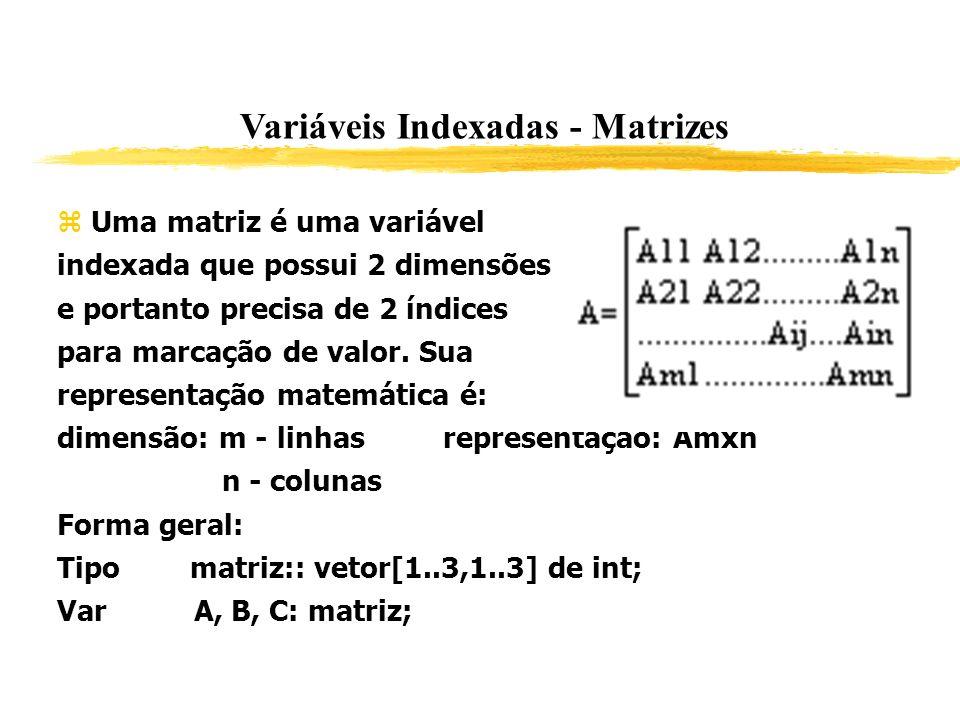 Variáveis Indexadas - Matrizes Uma matriz é uma variável indexada que possui 2 dimensões e portanto precisa de 2 índices para marcação de valor. Sua r