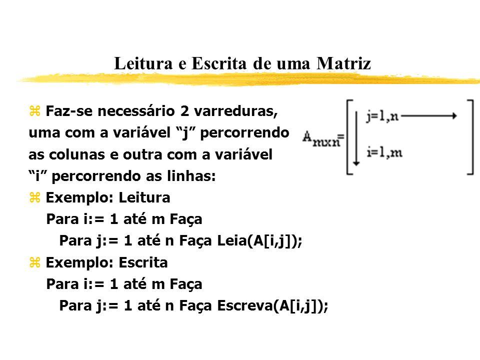 Leitura e Escrita de uma Matriz Faz-se necessário 2 varreduras, uma com a variável j percorrendo as colunas e outra com a variável i percorrendo as li