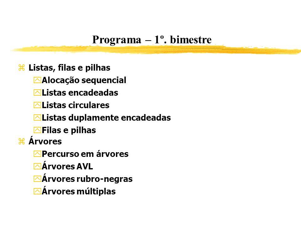 Programa – 1º. bimestre Listas, filas e pilhas Alocação sequencial Listas encadeadas Listas circulares Listas duplamente encadeadas Filas e pilhas Árv