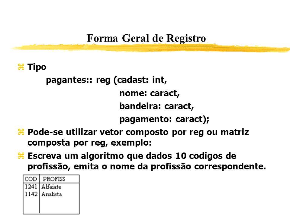 Forma Geral de Registro Tipo pagantes:: reg (cadast: int, nome: caract, bandeira: caract, pagamento: caract); Pode-se utilizar vetor composto por reg