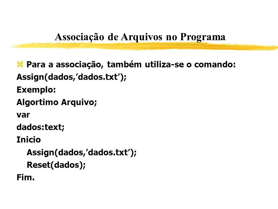 Associação de Arquivos no Programa Para a associação, também utiliza-se o comando: Assign(dados,dados.txt); Exemplo: Algortimo Arquivo; var dados:text
