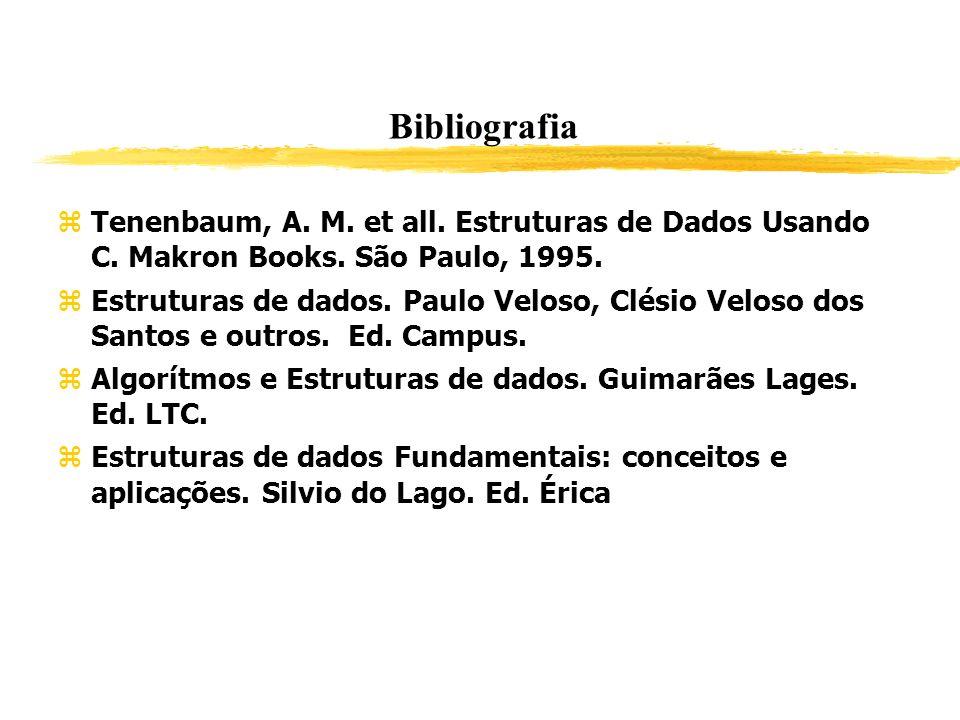 Bibliografia Tenenbaum, A. M. et all. Estruturas de Dados Usando C. Makron Books. São Paulo, 1995. Estruturas de dados. Paulo Veloso, Clésio Veloso do