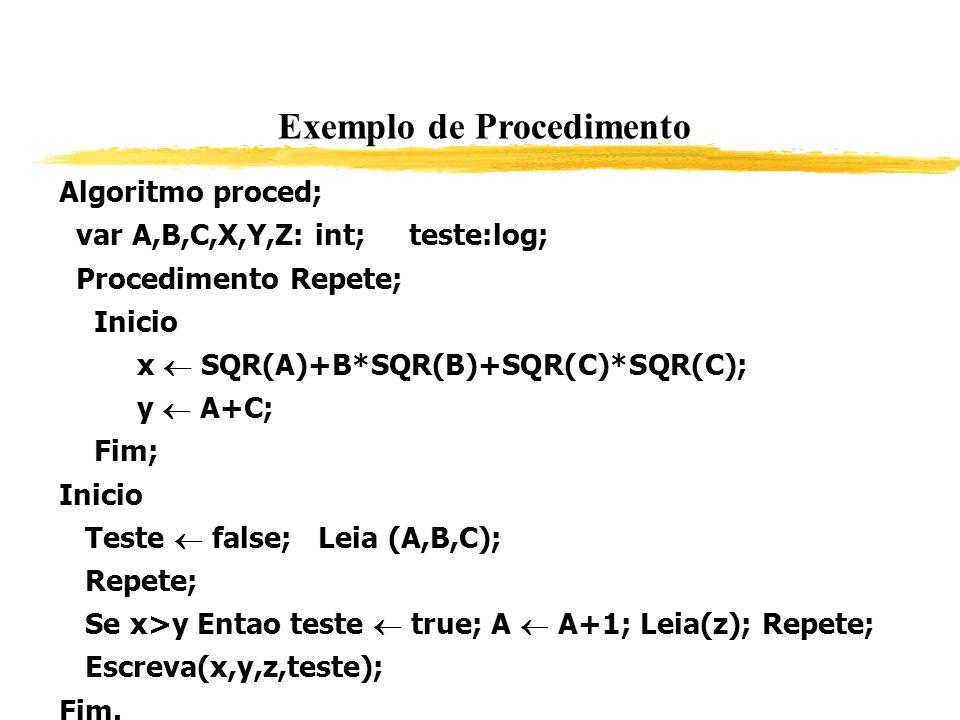 Exemplo de Procedimento Algoritmo proced; var A,B,C,X,Y,Z: int; teste:log; Procedimento Repete; Inicio x SQR(A)+B*SQR(B)+SQR(C)*SQR(C); y A+C; Fim; In