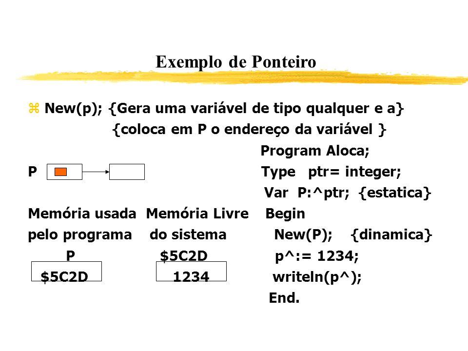 Exemplo de Ponteiro New(p); {Gera uma variável de tipo qualquer e a} {coloca em P o endereço da variável } Program Aloca; P Type ptr= integer; Var P:^